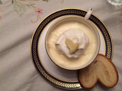 Chef Maggie's 60th birthday gift to her mother was a meal served on her grandmother's china. For dessert: lemon mouse with fresh whipped cream and a Spanish sweet